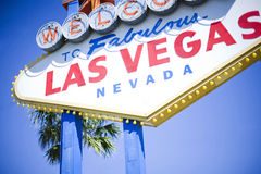 Vegas sign. Las Vegas welcome sign with blue sky and palm tree Stock Photo