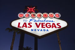 Vegas Sign Night Stock Photography