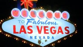 Vegas sign at night - medium zoom (1 of 4) stock video footage