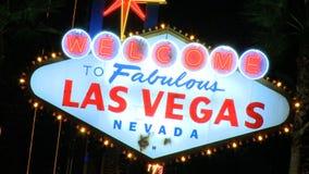 Vegas sign at night - medium zoom (2 of 4) stock footage