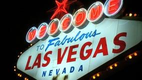 Vegas sign at night - medium zoom (4 of 4) stock video