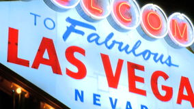 Vegas sign at night - pan up (1 of 2) stock video