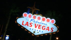 Vegas sign at night - zoom out (1 of 2) stock video footage