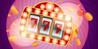 Vegas slot machine concept banner, cartoon style vector illustration