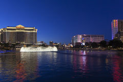The Vegas Strip as seen from the Bellagio in Las Vegas, NV on Ma Stock Image