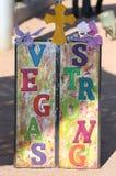 Vegas Strong at Las Vegas memorial. Vegas Strong art for fallen victims of Oct 1 shooting. Art is at a roadside memorial Royalty Free Stock Photos