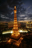 Vegas Sunset. View of Paris' Eiffel Tower and the Bellagio fountains at sunset. (Editorial only stock images