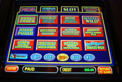 Vegas video poker machine. A close-up of a video poker screen offering different game choices is photographed in Las Vegas stock photo