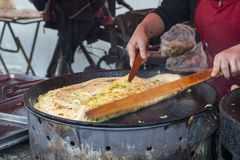 Vegatable Ei DanBing des Harbin-Straßenlebensmittel-Pfannkuchens stockfotografie