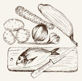 Vegatables and fish Stock Image
