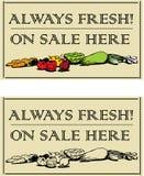 Vegatables fresco - 2 letreros Fotos de archivo libres de regalías