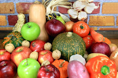 Vegatables and Fruits. Assorted vegetables and fruits typical for the fall and winter time of the year Stock Photo
