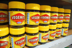 Vegemite at supermarket counter. Christchurch, New Zealand royalty free stock image
