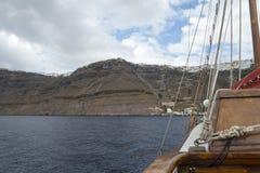 Vegend landschap die het Eiland Santorini, Griekenland overzien Royalty-vrije Stock Afbeeldingen