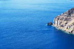 Vegend landschap die het Eiland Santorini, Griekenland overzien Stock Foto's