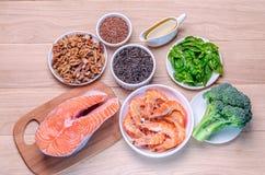 Vegetabiliska och djura källor av syror Omega-3 Royaltyfri Fotografi
