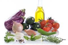 Vegetable баклажан, сквош, томат, ингридиенты ratatouille цукини Стоковые Фотографии RF