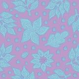 Vegetable безшовная картина вектора Декоративные богато украшенные стилизованные листья, цветки и абстрактные элементы Стоковое Изображение RF