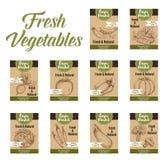 Vegetable бирка и ферма выходят ярлыки вышед на рынок на рынок цены veggies бесплатная иллюстрация