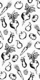 Vegetable вектор предпосылки текстуры картины чернил плодоовощ monochrome нарисованный рукой установленный безшовный Стоковые Изображения
