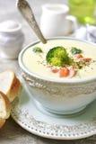 Vegetable густой суп с сыром в голубом винтажном шаре Стоковое Фото