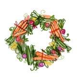 Vegetable рамка, эскиз для вашего дизайна Стоковая Фотография RF