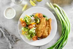 Vegetable салат от томата, цукини, редиски, зеленых цветов и schnit Стоковые Фотографии RF