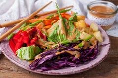 Vegetable салат с азиатской шлихтой кокоса арахиса Стоковое Изображение RF