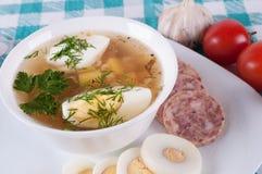 Vegetable суп украшенный с ломтиками яичка. Стоковое Изображение
