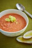 Vegetable суп creme и 2 части белого хлеба Стоковое Фото