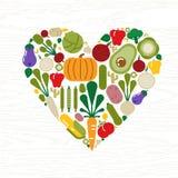 Vegetable форма сердца значка для концепции еды иллюстрация вектора