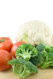 Vegetable. (tomato,Cauliflower,broccoli)on chopping board Stock Images