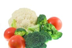 Vegetable. (tomato,Cauliflower,broccoli)on white background Royalty Free Stock Images