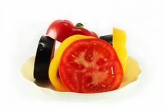 Vegetable. Sliced vegetables on white plate Stock Images
