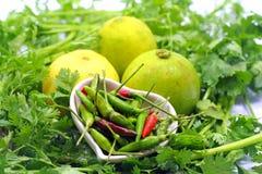 Vegetable. Chili and lemons on parsley Stock Photography