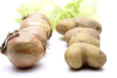 Vegetable. Potatoes and onions in the raw state royalty free stock photography
