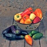Vegetable allsorts. Sweet pepper eggplants and cucumbers Stock Image