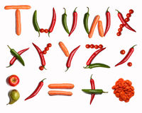 Vegetable alphabet Stock Photos