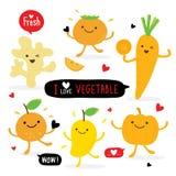 Vegetable And Fruit Cartoon Cute Set Ginger Pumpkin Mango Orange Carrot Persimmon Vector Stock Images