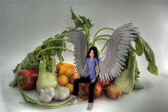 Vegetable and angel HDRI. Royalty Free Stock Images