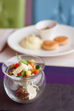 Vegetable appetizer in creative glassware Stock Images