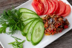 Vegetable appetizer with eggplants, decorated with sliced royalty free stock photography