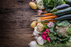 Vegetable. Assortment of fresh vegetable on rustic old oak table. Vegetable from market place.  Stock Images