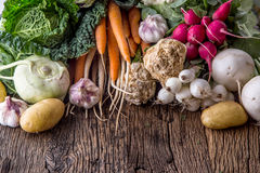Vegetable. Assortment of fresh vegetable on rustic old oak table. Vegetable from market place.  Stock Photo
