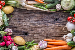 Vegetable. Assortment of fresh vegetable on rustic old oak table. Vegetable from market place.  Royalty Free Stock Image