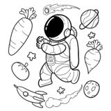 Vegetable astronauts are funny hand drawn royalty free illustration