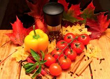 Vegetable and autumn leafs Royalty Free Stock Image