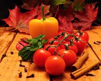 Vegetable and autumn leafs Stock Photography