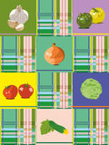 Vegetable background. Vegetables on a green background and cells Royalty Free Stock Images