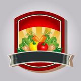 Vegetable Badge. Label or sticker for product made by vegetable. Additional file in eps 10 file, with no gradient meshes, blends, opacity, stroke path, brushes stock illustration